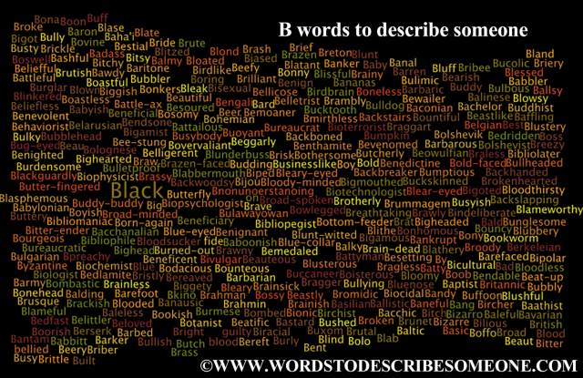 b words to describe someone image cloud