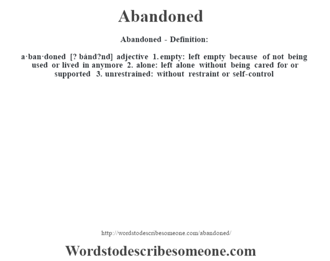 definition of deserted (adj) Start studying the great gatsby ch4-10 vocab learn vocabulary, terms, and more with flashcards, games, and other study tools.