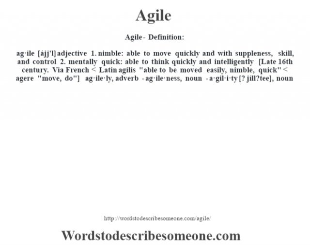Agile- Definition:ag·ile [ájj'l] adjective  1.  nimble: able to move quickly and with suppleness, skill, and control  2.  mentally quick: able to think quickly and intelligently    [Late 16th century. Via French < Latin agilis