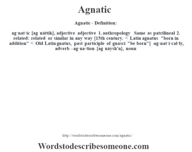 Agnatic- Definition:ag·nat·ic [ag náttik], adjective adjective  1.  anthropology Same as patrilineal  2.  related: related or similar in any way    [15th century. < Latin agnatus
