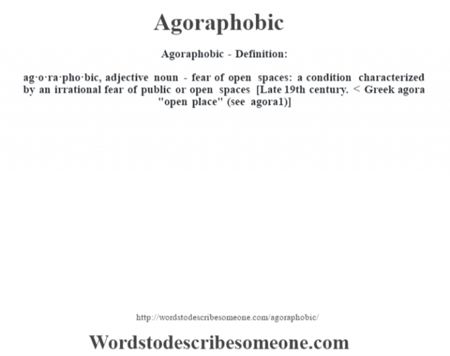 Agoraphobic- Definition:ag·o·ra·pho·bic, adjective noun - fear of open spaces: a condition characterized by an irrational fear of public or open spaces    [Late 19th century. < Greek agora