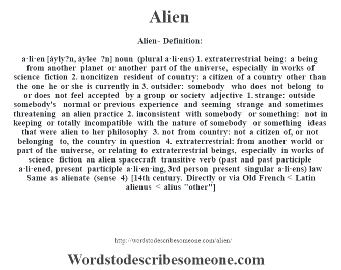 alien definition alien meaning words to describe someone