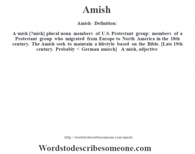 Amish- Definition:A·mish [?mish] plural noun   members of U.S. Protestant group: members of a Protestant group who migrated from Europe to North America in the 18th century.  The Amish seek to maintain a lifestyle based on the Bible.    [Late 19th century. Probably < German amisch]   -A·mish, adjective