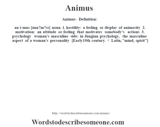 Animus definition | Animus meaning - words to describe someone