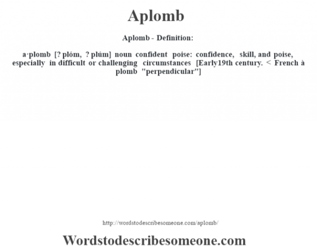 Aplomb- Definition:a·plomb [? plóm, ? plúm] noun   confident poise: confidence, skill, and poise, especially in difficult or challenging circumstances    [Early 19th century. < French à plomb