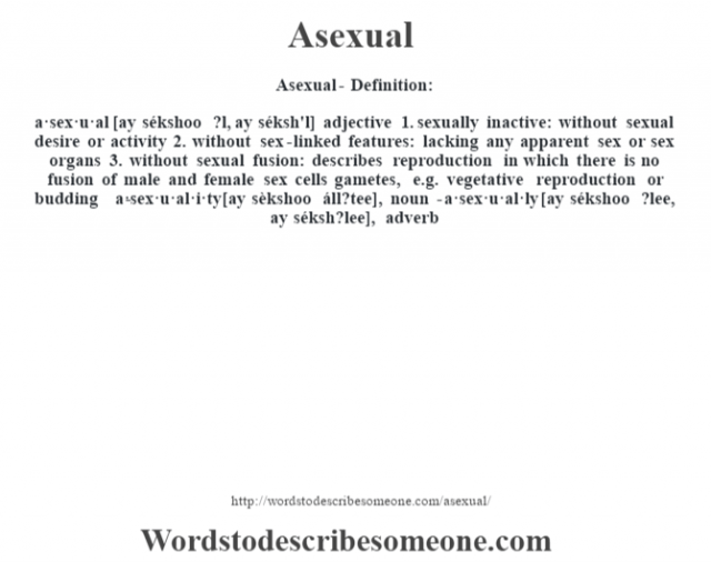 Asexual- Definition:a·sex·u·al [ay sékshoo ?l, ay séksh'l] adjective  1.  sexually inactive: without sexual desire or activity  2.  without sex-linked features: lacking any apparent sex or sex organs  3.  without sexual fusion: describes reproduction in which there is no fusion of male and female sex cells gametes, e.g. vegetative reproduction or budding     -a·sex·u·al·i·ty [ay sèkshoo áll?tee], noun -a·sex·u·al·ly [ay sékshoo ?lee, ay séksh?lee], adverb