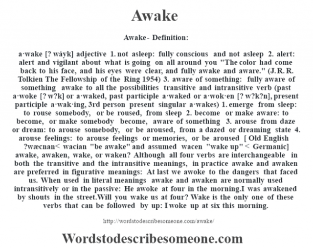 Awake- Definition:a·wake [? wáyk] adjective  1.  not asleep: fully conscious and not asleep  2.  alert: alert and vigilant about what is going on all around you