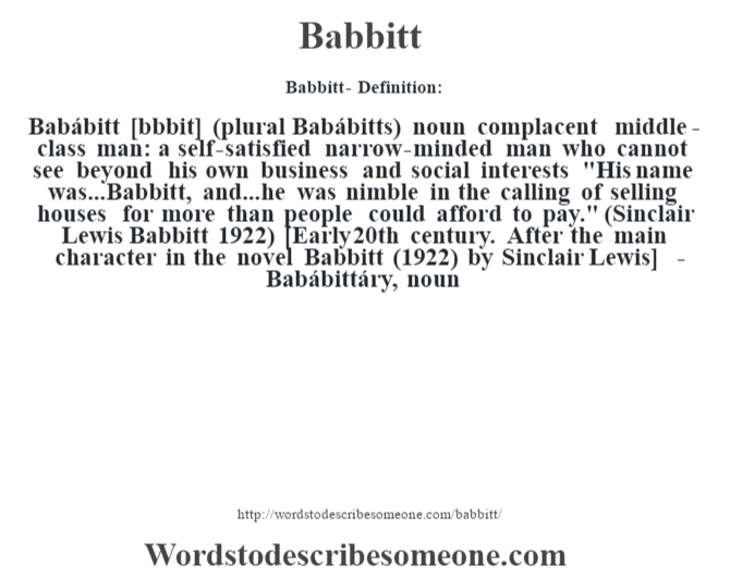 Babbitt definition | Babbitt meaning - words to describe someone