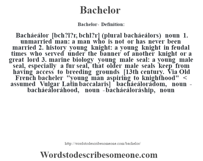 bachelor definition bachelor meaning words to describe ForBachelor Definition