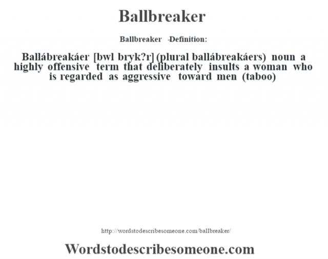 Ballbreaker   - Definition:Ballábreakáer [b‡wl brˆyk?r] (plural ballábreakáers)  noun   a highly offensive term that deliberately insults a woman who is regarded as aggressive toward men (taboo)