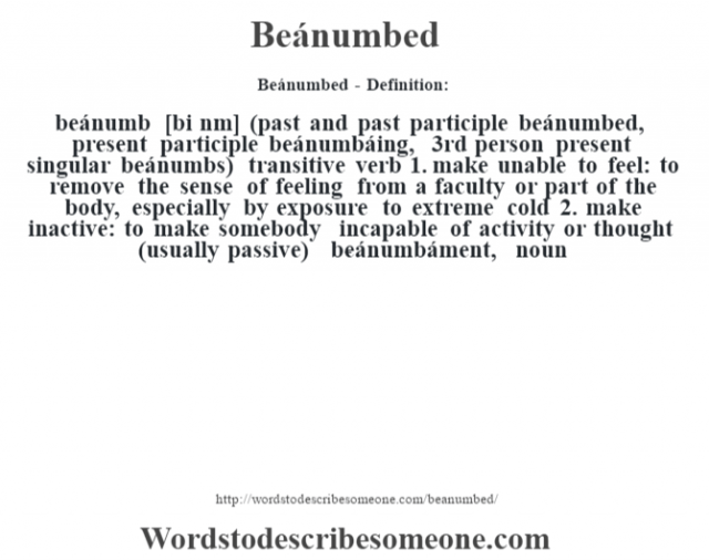 Beánumbed- Definition:beánumb [bi nœm] (past and past participle beánumbed, present participle beánumbáing, 3rd person present singular beánumbs)  transitive verb  1.  make unable to feel: to remove the sense of feeling from a faculty or part of the body, especially by exposure to extreme cold  2.  make inactive: to make somebody incapable of activity or thought (usually passive)     -beánumbáment, noun