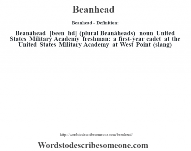 Beanhead- Definition:Beanáhead [been hd] (plural Beanáheads)  noun   United States Military Academy freshman: a first-year cadet at the United States Military Academy at West Point (slang)