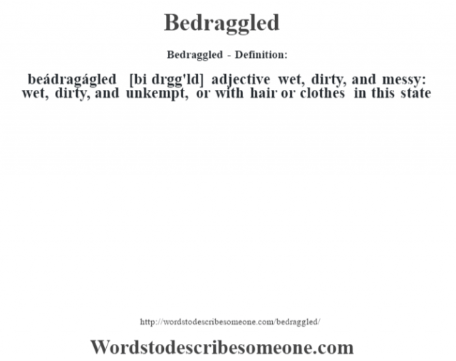 Bedraggled- Definition:beádragágled [bi dr‡gg'ld] adjective   wet, dirty, and messy: wet, dirty, and unkempt, or with hair or clothes in this state