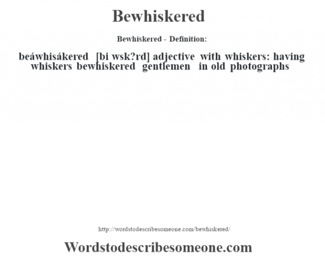 Bewhiskered- Definition:beáwhisákered [bi w'sk?rd] adjective   with whiskers: having whiskers bewhiskered gentlemen in old photographs