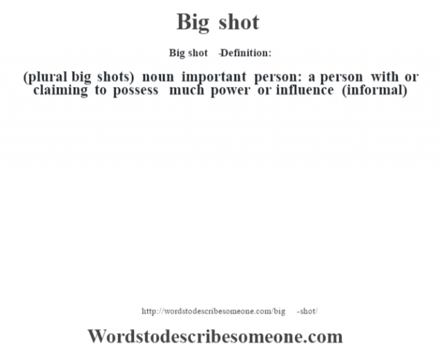 Big shot   - Definition:(plural big shots)  noun   important person: a person with or claiming to possess much power or influence (informal)