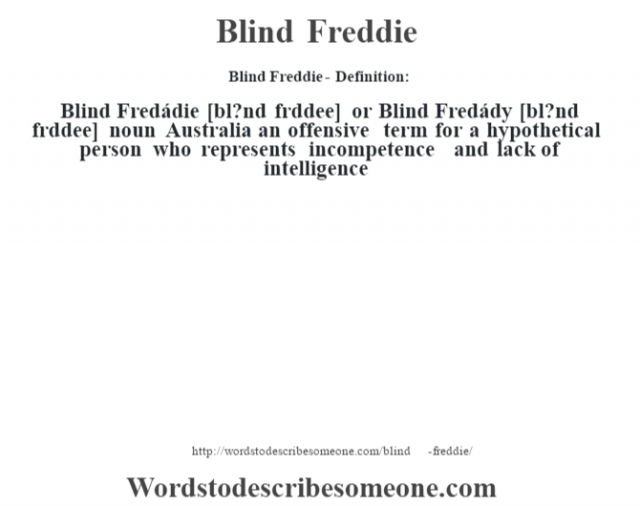 Blind Freddie- Definition:Blind Fredádie [bl?nd frŽddee] or Blind Fredády [bl?nd frŽddee] noun   Australia an offensive term for a hypothetical person who represents incompetence and lack of intelligence