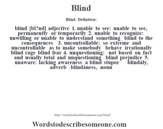 Blind- Definition:blind [bl?nd] adjective  1.  unable to see: unable to see, permanently or temporarily  2.  unable to recognize: unwilling or unable to understand something blind to the consequences   3.  uncontrollable: so extreme and uncontrollable as to make somebody behave irrationally blind rage blind fear   4.  unquestioning: not based on fact and usually total and unquestioning blind prejudice   5.  unaware: lacking awareness a blind stupor     - -blindály, adverb -blindáness, noun