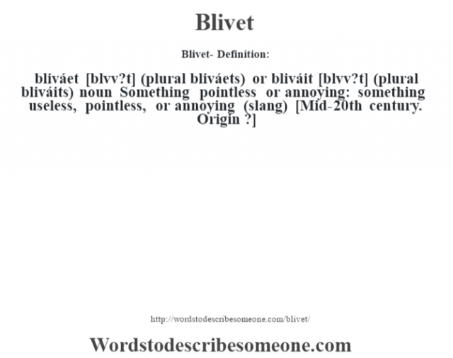 Blivet- Definition:bliváet [bl'vv?t] (plural bliváets) or bliváit [bl'vv?t] (plural bliváits)  noun   Something pointless or annoying: something useless, pointless, or annoying (slang)  [Mid-20th century. Origin ?]