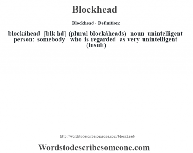Blockhead- Definition:blockáhead [bl—k hd] (plural blockáheads)  noun   unintelligent person: somebody who is regarded as very unintelligent (insult)