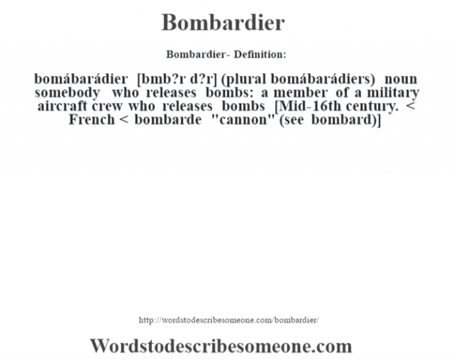 Bombardier- Definition:bomábarádier [b˜mb?r d?r] (plural bomábarádiers)  noun   somebody who releases bombs: a member of a military aircraft crew who releases bombs    [Mid-16th century. < French < bombarde
