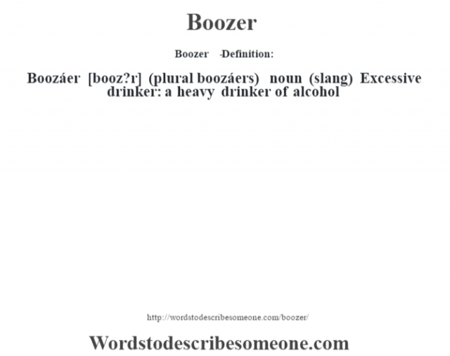 Boozer   - Definition:Boozáer [booz?r] (plural boozáers)  noun (slang)  Excessive drinker: a heavy drinker of alcohol