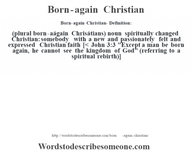 Born-again Christian- Definition:(plural born-aágain Chrisátians)  noun   spiritually changed Christian: somebody with a new and passionately felt and expressed Christian faith    [< John 3:3