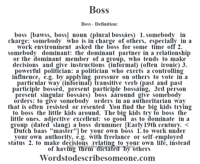 Boss definition | Boss meaning - words to describe someone