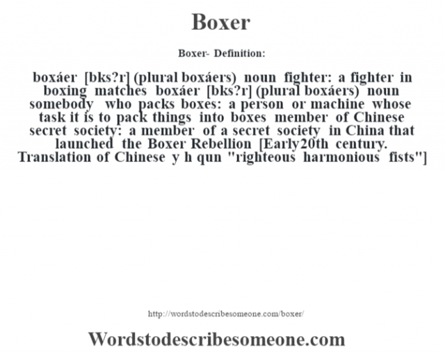 "Boxer- Definition:boxáer [b—ks?r] (plural boxáers)  noun   fighter: a fighter in boxing matches    boxáer [b—ks?r] (plural boxáers)  noun   somebody who packs boxes: a person or machine whose task it is to pack things into boxes   member of Chinese secret society: a member of a secret society in China that launched the Boxer Rebellion    [Early 20th century. Translation of Chinese y"" hŽ qu‡n"