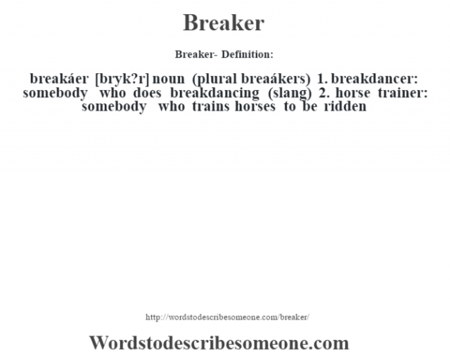 Breaker- Definition:breakáer [br‡yk?r] noun (plural breaákers)   1.  breakdancer: somebody who does breakdancing (slang)  2.  horse trainer: somebody who trains horses to be ridden