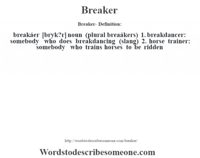 Breaker- Definition:breakáer [br‡yk?r] noun (plural breaákers)   1.  breakdancer: somebody who does breakdancing (slang)  2.  horse trainer: somebody who trains horses to be ridden