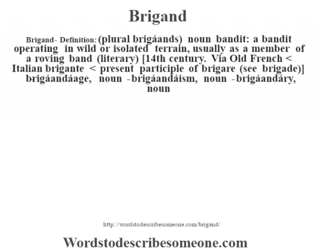 Brigand- Definition:(plural brigáands)  noun   bandit: a bandit operating in wild or isolated terrain, usually as a member of a roving band (literary)    [14th century. Via Old French < Italian brigante < present participle of brigare (see brigade)]   -brigáandáage, noun -brigáandáism, noun -brigáandáry, noun