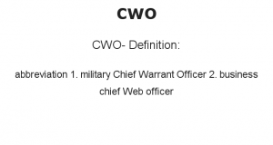 CWO- Definition:abbreviation  1.  military Chief Warrant Officer  2.  business chief Web officer