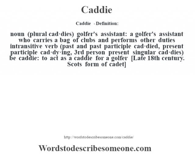 Caddie  - Definition:noun (plural cad·dies)   golfer's assistant: a golfer's assistant who carries a bag of clubs and performs other duties    intransitive verb (past and past participle cad·died, present participle cad·dy·ing, 3rd person present singular cad·dies)   be caddie: to act as a caddie for a golfer    [Late 18th century. Scots form of cadet]