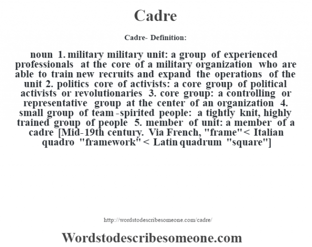 Cadre- Definition:noun  1.  military military unit: a group of experienced professionals at the core of a military organization who are able to train new recruits and expand the operations of the unit  2.  politics core of activists: a core group of political activists or revolutionaries  3.  core group: a controlling or representative group at the center of an organization  4.  small group of team-spirited people: a tightly knit, highly trained group of people  5.  member of unit: a member of a cadre    [Mid-19th century. Via French,