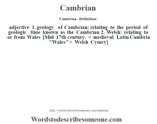 Cambrian- Definition:adjective  1.  geology of Cambrian: relating to the period of geologic time known as the Cambrian  2.  Welsh: relating to or from Wales    [Mid-17th century. < medieval Latin Cambria
