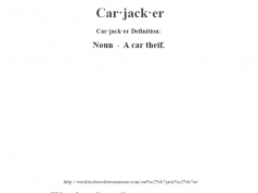 Car·jack·er- Definition:Noun - A car theif.
