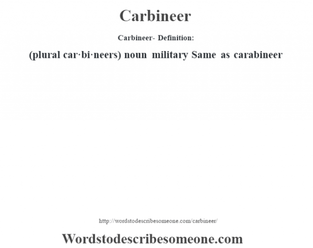 Carbineer- Definition:(plural car·bi·neers)  noun   military Same as carabineer
