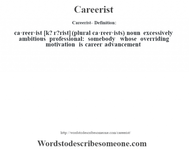 Careerist- Definition:ca·reer·ist [k? r?rist] (plural ca·reer·ists)  noun   excessively ambitious professional: somebody whose overriding motivation is career advancement