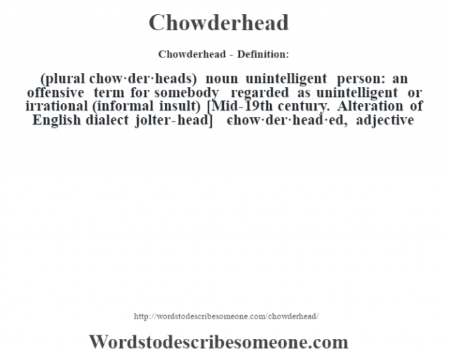 Chowderhead- Definition:(plural chow·der·heads)  noun   unintelligent person: an offensive term for somebody regarded as unintelligent or irrational (informal insult)    [Mid-19th century. Alteration of English dialect jolter-head]   -chow·der·head·ed, adjective