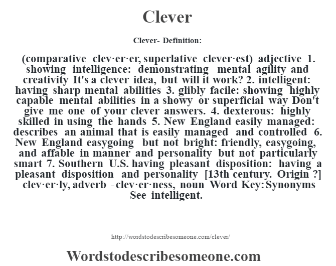 Clever definition | Clever meaning - words to describe someone