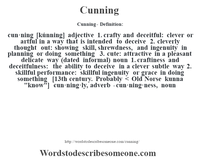 Cunning definition | Cunning meaning - words to describe someone