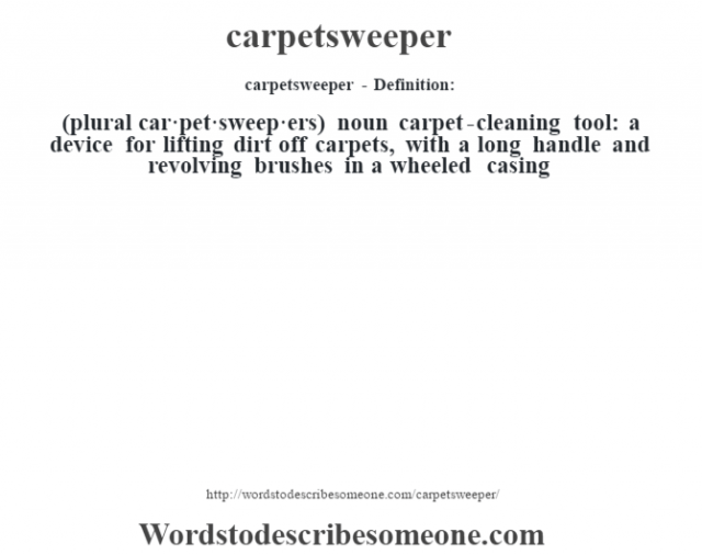 carpetsweeper- Definition:(plural car·pet·sweep·ers)  noun   carpet-cleaning tool: a device for lifting dirt off carpets, with a long handle and revolving brushes in a wheeled casing