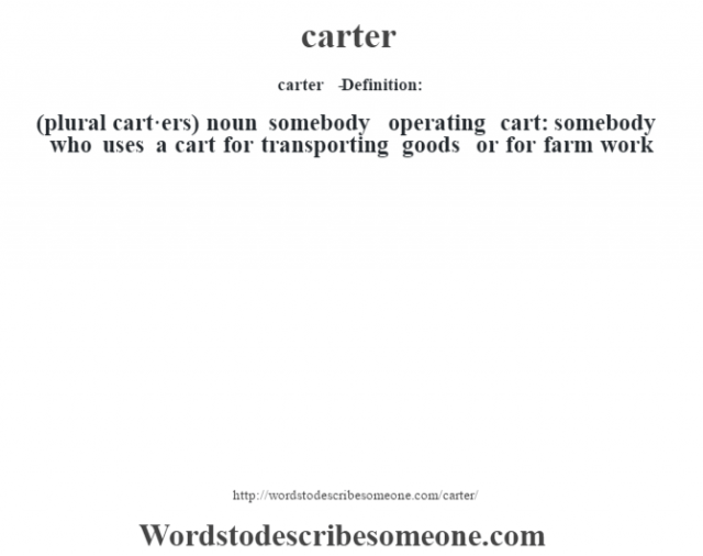carter   - Definition:(plural cart·ers)  noun   somebody operating cart: somebody who uses a cart for transporting goods or for farm work