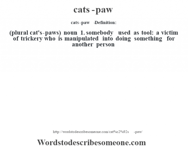cat's-paw   - Definition:(plural cat's-paws)  noun  1.  somebody used as tool: a victim of trickery who is manipulated into doing something for another person