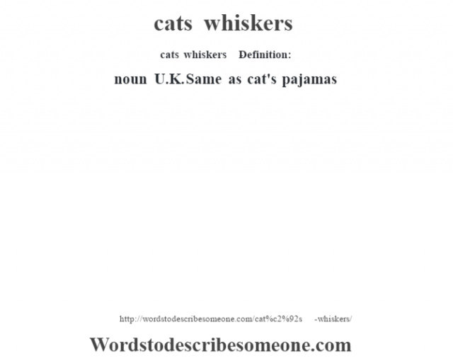 cat's whiskers    - Definition:noun   U.K. Same as cat's pajamas