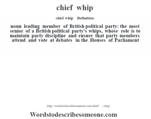 chief whip    - Definition:noun   leading member of British political party: the most senior of a British political party's whips, whose role is to maintain party discipline and ensure that party members attend and vote at debates in the Houses of Parliament