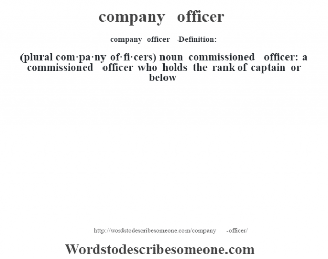 company officer   - Definition:(plural com·pa·ny of·fi·cers)  noun   commissioned officer: a commissioned officer who holds the rank of captain or below