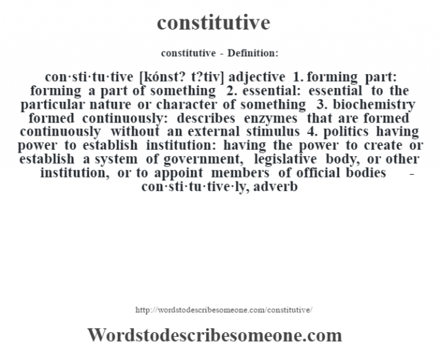 constitutive- Definition:con·sti·tu·tive [kónst? t?tiv] adjective  1.  forming part: forming a part of something  2.  essential: essential to the particular nature or character of something  3.  biochemistry formed continuously: describes enzymes that are formed continuously without an external stimulus  4.  politics having power to establish institution: having the power to create or establish a system of government, legislative body, or other institution, or to appoint members of official bodies     -con·sti·tu·tive·ly, adverb