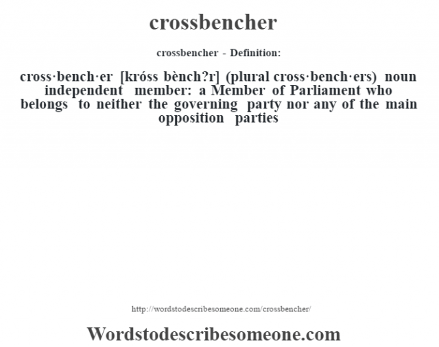 crossbencher- Definition:cross·bench·er [króss bènch?r] (plural cross·bench·ers)  noun   independent member: a Member of Parliament who belongs to neither the governing party nor any of the main opposition parties