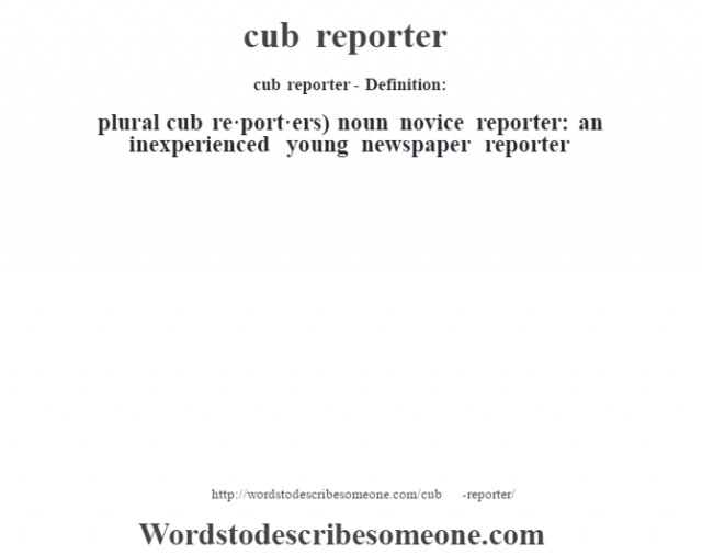 cub reporter- Definition:plural cub re·port·ers)  noun   novice reporter: an inexperienced young newspaper reporter